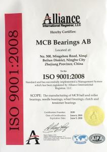 MCB Bearings AB ISO Certificate